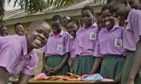 Girls making reuseable sanitary pads in rural Uganda. Photo: Derrick Debru for SNV